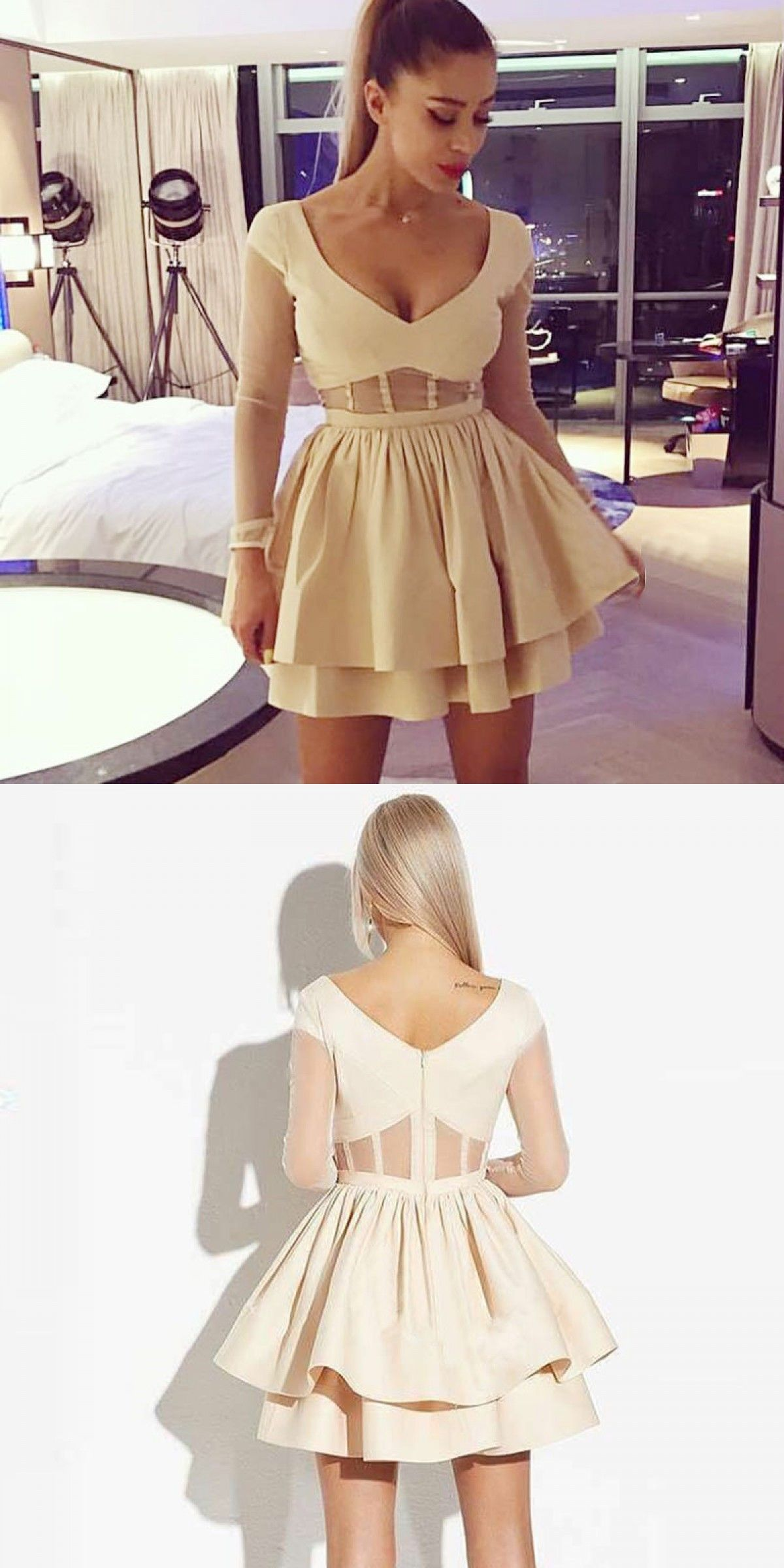 Aline vneck long sleeves light champagne pleated homecoming dress