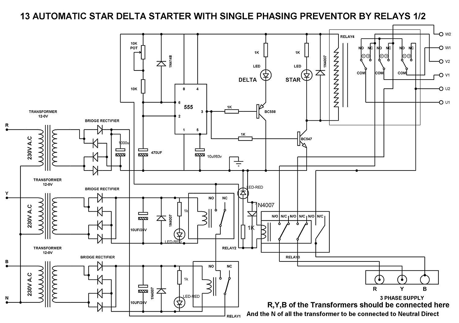 Auto Star Delta Circuit Diagram Electrical Wiring Diagrams Automatic Starter Using Relay Somurich Com 3 Phase