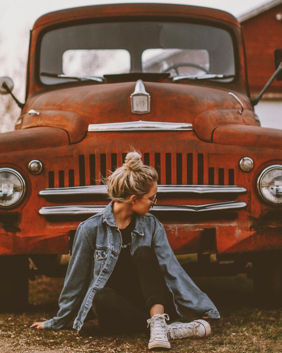 vintage auto with hipster bun / s.o to denim  #FALL FASHION – Fashion