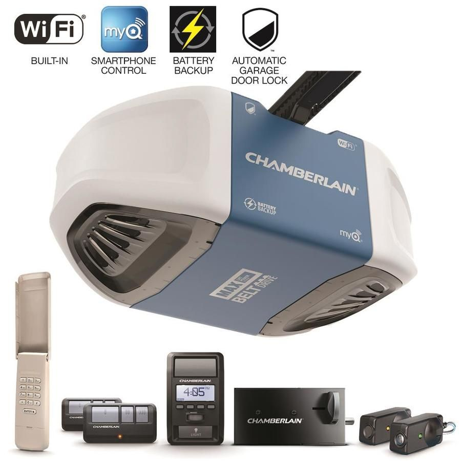 Chamberlain 1 25 Hp Security Bundle Belt Drive Garage Door Opener With Built In Wifi And Bat Smart Garage Door Opener Garage Doors Garage Door Opener