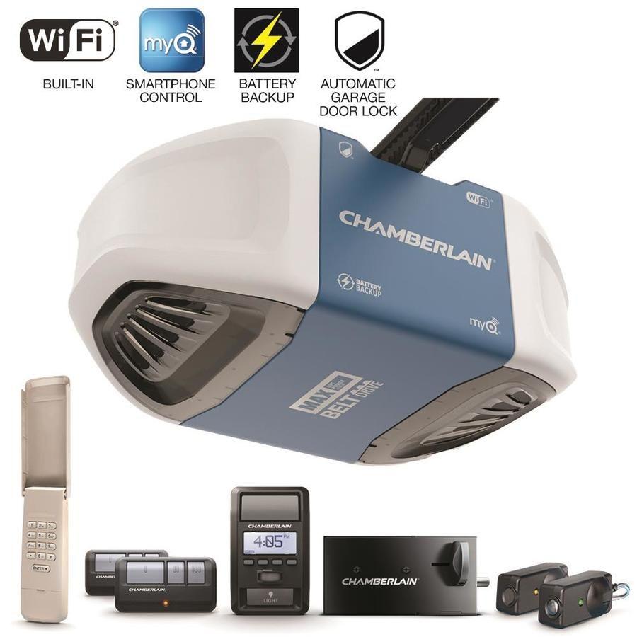 Chamberlain 1 25 Hp Security Bundle Belt Drive Garage Door Opener