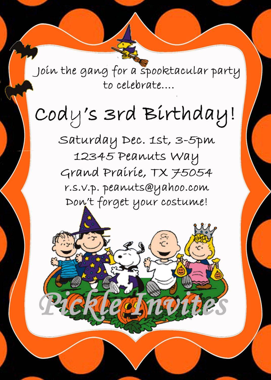 Peanuts Charlie Brown Halloween Party Birthday by PickleInvites ...