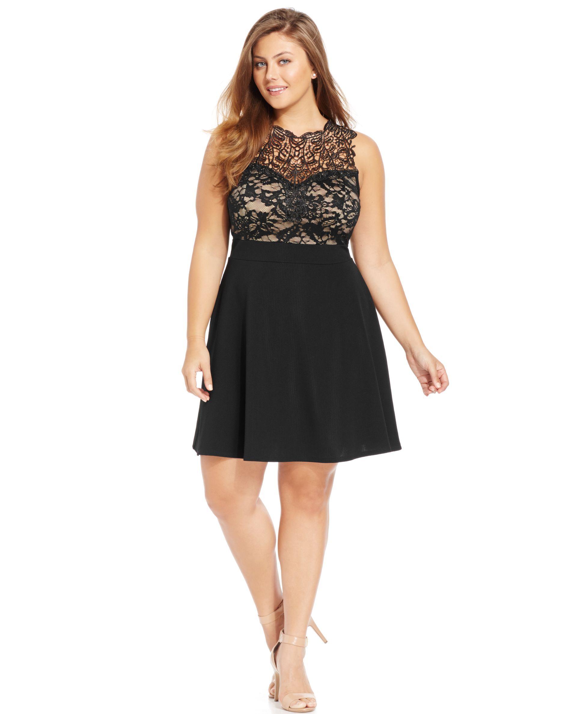 Trixxi Plus Size Lace Illusion A-Line Dress - Trendy Plus ...