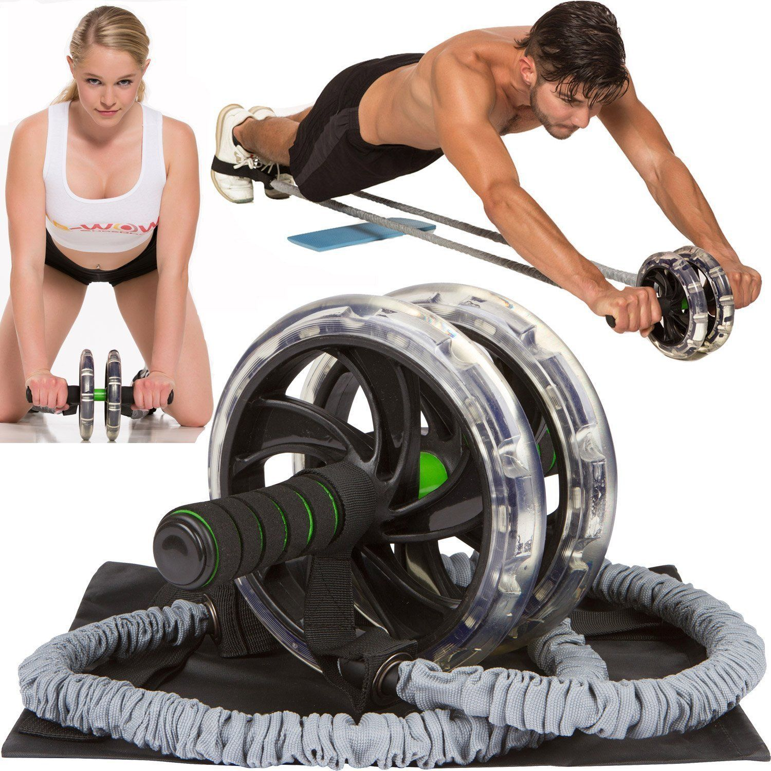 Pro Roller Ab Carver Fitness Exerciser Wheel Workout Abdominal Core Home Gym Pad