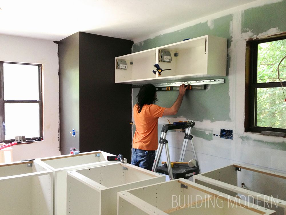 Ikea Akurum Kitchen Upper Horizontal Wall Cabinet Installation.