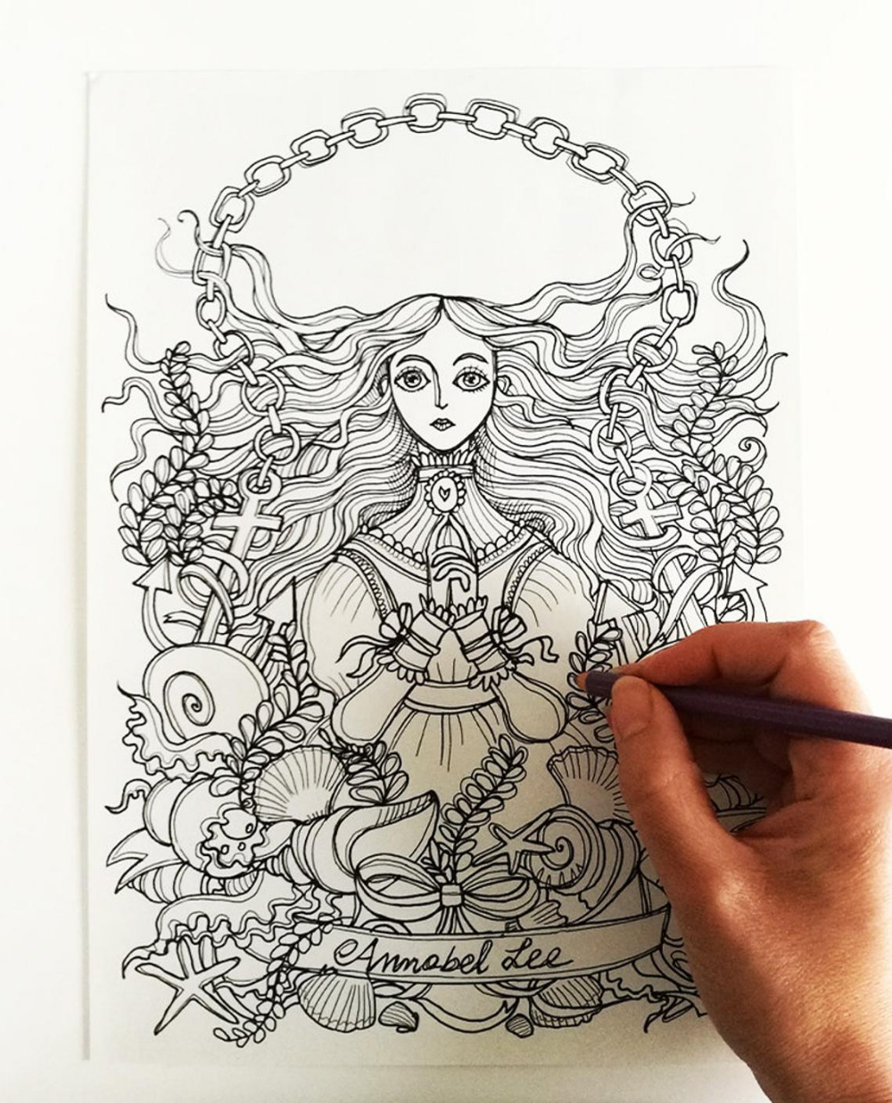 Annabel Lee Edgar Allan Poe Coloring Page Instant Etsy Ilustracoes