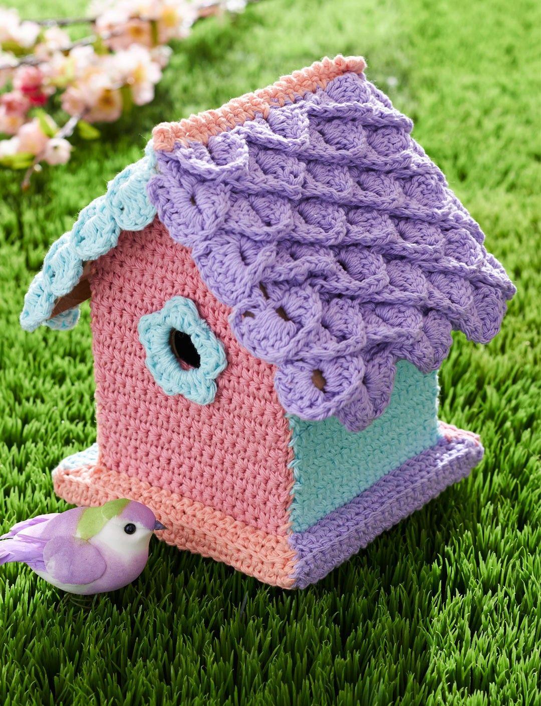 Yarn Bombed Birdhouse: free crochet pattern | Crochet Coasters ...