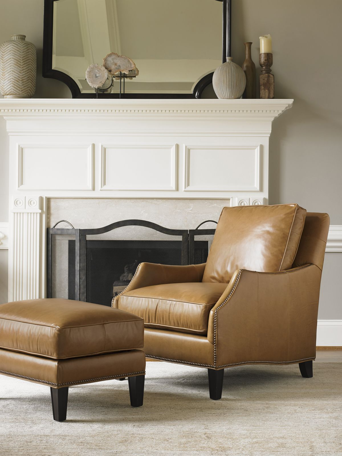 butterscotch leather chair and ottoman from lexington furniture