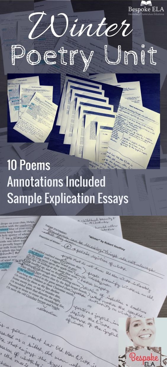 Winter Poetry Unit with Annotations, Sample Explication Essays, & MORE