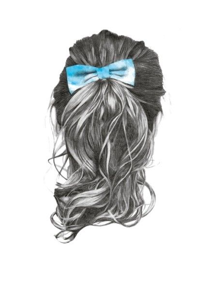 Sketch Of Long Hair With Bow How To Draw Hair Hair Styles Hair Illustration
