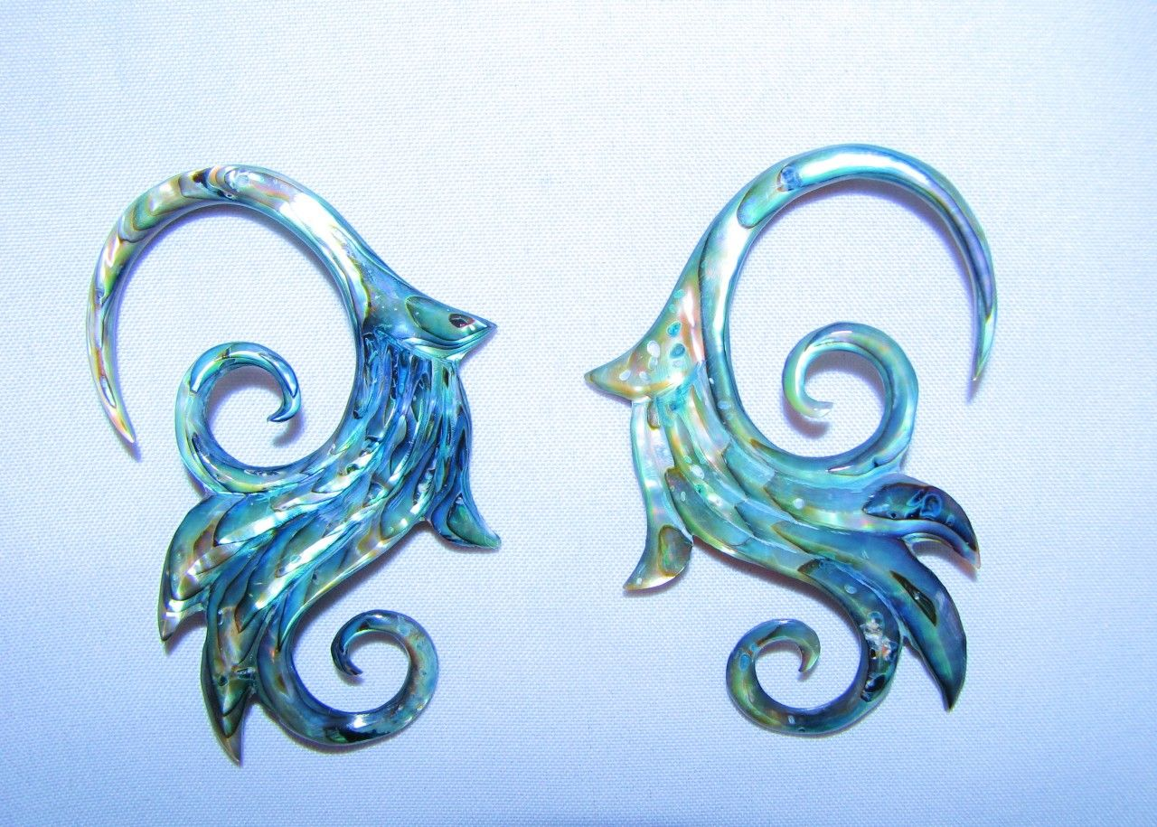 avaia artistic jewelry abalone shell lily hanging ear