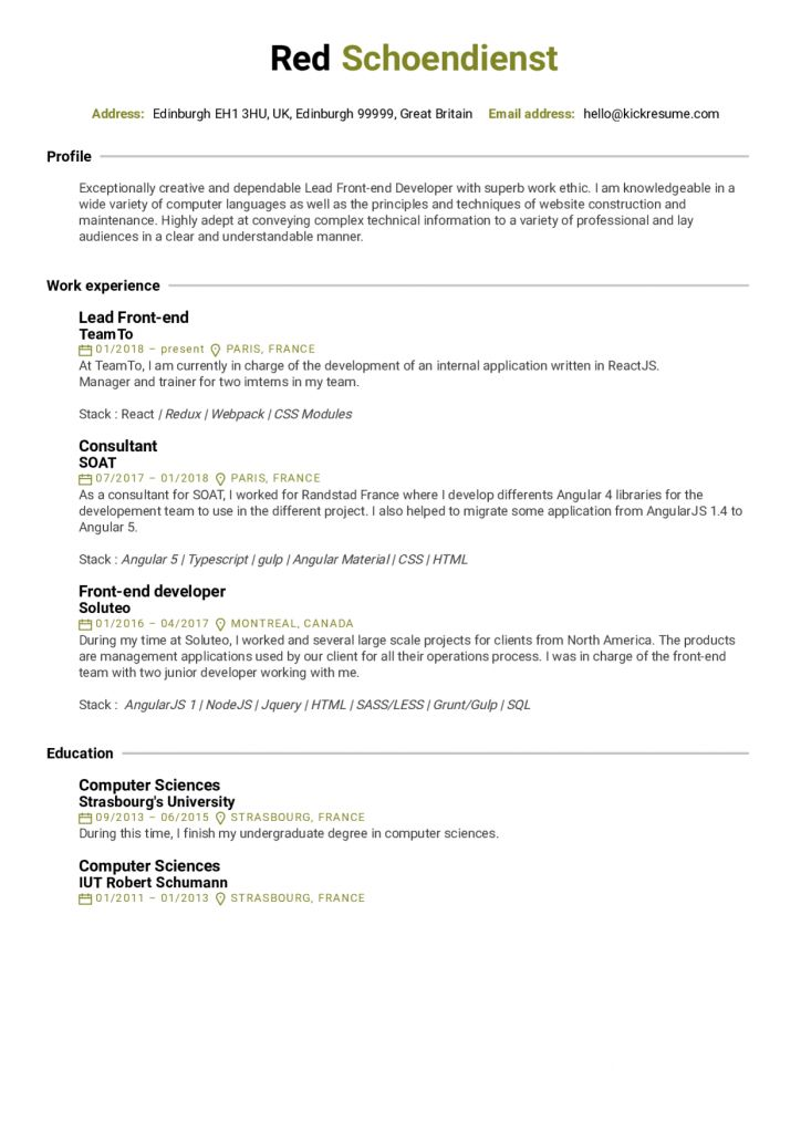 Front End Developer Resume Examples 2021 Resume Examples Web Developer Resume Resume