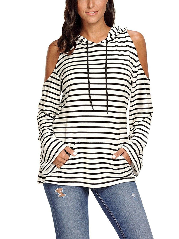 bb7003d73538b Women Cold Shoulder Hoodie- Laipelar Women Striped Cold Shoulder Long  Sleeve Hoodie Top - Black - CC187E8ZHQU