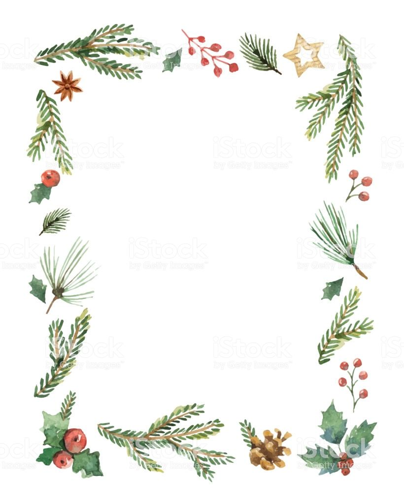 Watercolor Vector Christmas Frame With Fir Branches And Place For