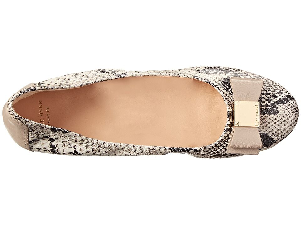 fc2e71f30 Cole Haan Tali Bow Ballet Women's Slip on Shoes Natural Roccia Snake Print