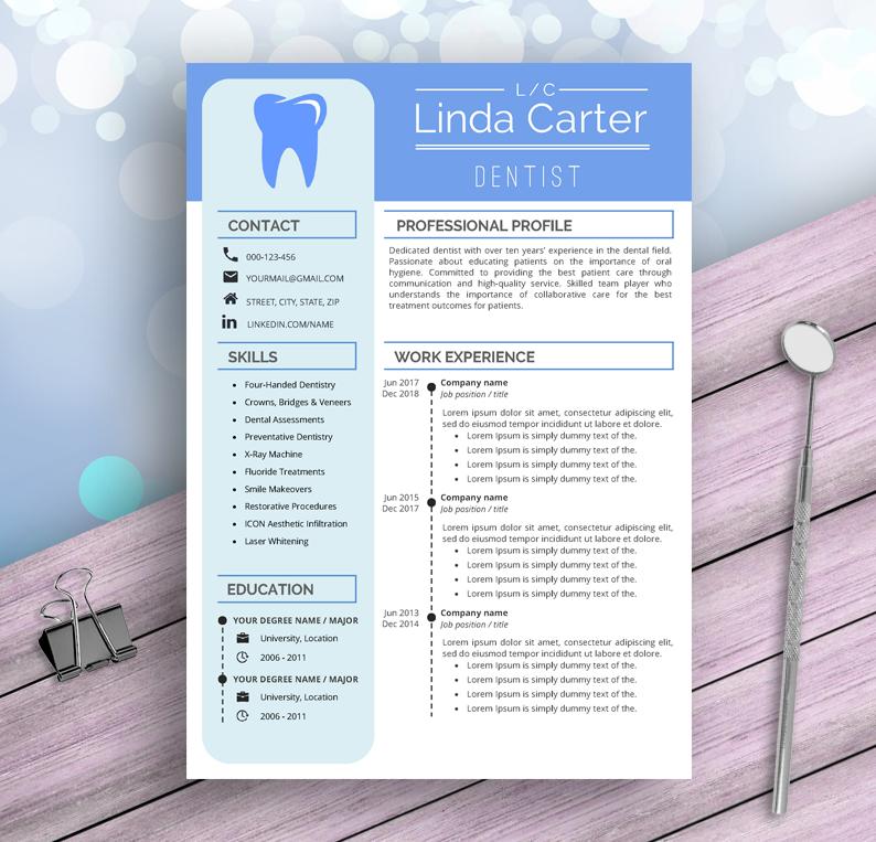 Dental Assistant Resume Template For Word, Dentist, Dental