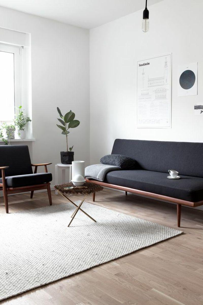 Skandinavisches Design Einrichtungsbeispiele Sofa Sessel Schwarz