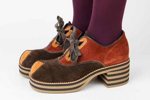 f4f5237799694 1970s Platform Shoes - 70s Disco Shoes - Suede Leather - Color Block ...