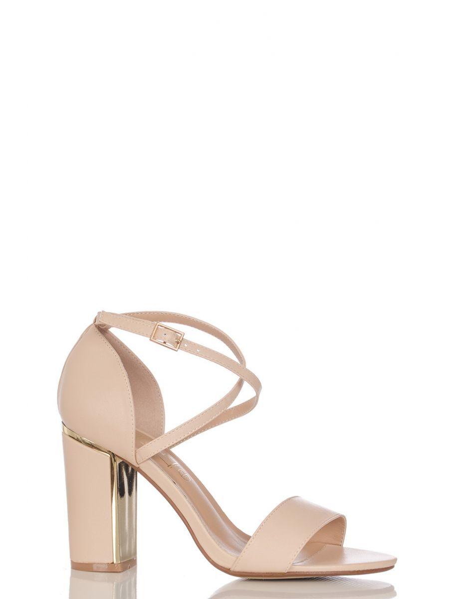 ab1f4bd1495 Nude PU Cross Strap Block Heel Sandals - Quiz Clothing
