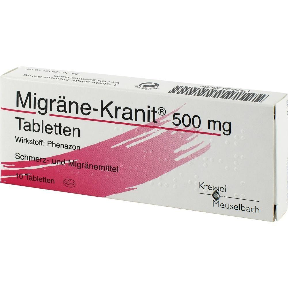 MIGRÄNE KRANIT 500 mg Tabletten:   Packungsinhalt: 10 St Tabletten PZN: 03438004 Hersteller: Krewel Meuselbach GmbH Preis: 3,02 EUR inkl.…