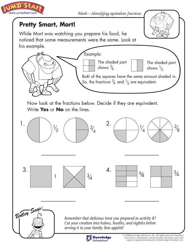 Pretty Smart Mort Math Worksheets On Fractions Jumpstart Math Worksheets 3rd Grade Math Fractions Worksheets
