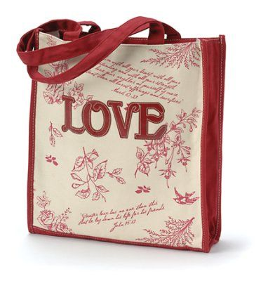 "Tote Bag Floral Red Love (11.25""w x 11.00""h x 3.00"")"