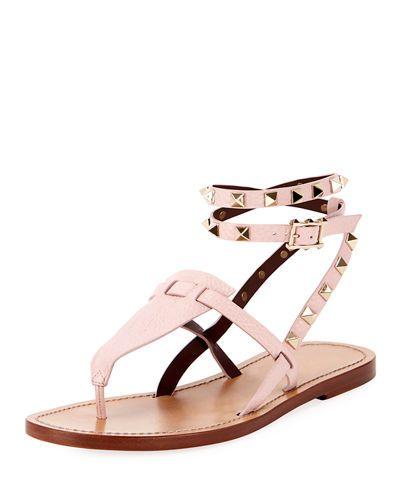 986106f6a3f8 Valentino Garavani Flat Rockstud Ankle-Wrap Gladiator Sandals