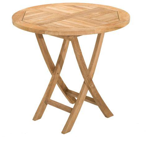 table ronde pliante en teck 80 cm 1304732 jardin. Black Bedroom Furniture Sets. Home Design Ideas