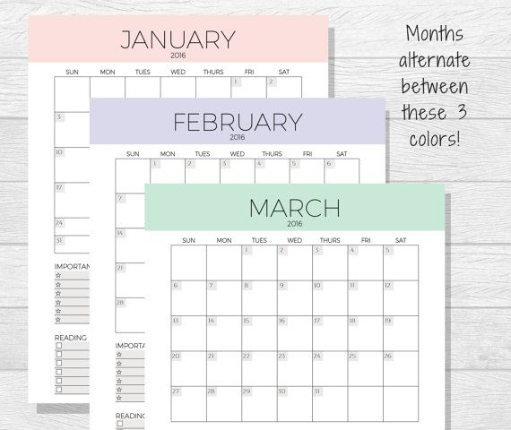 2016 monthly planner printable planner love monthly planner