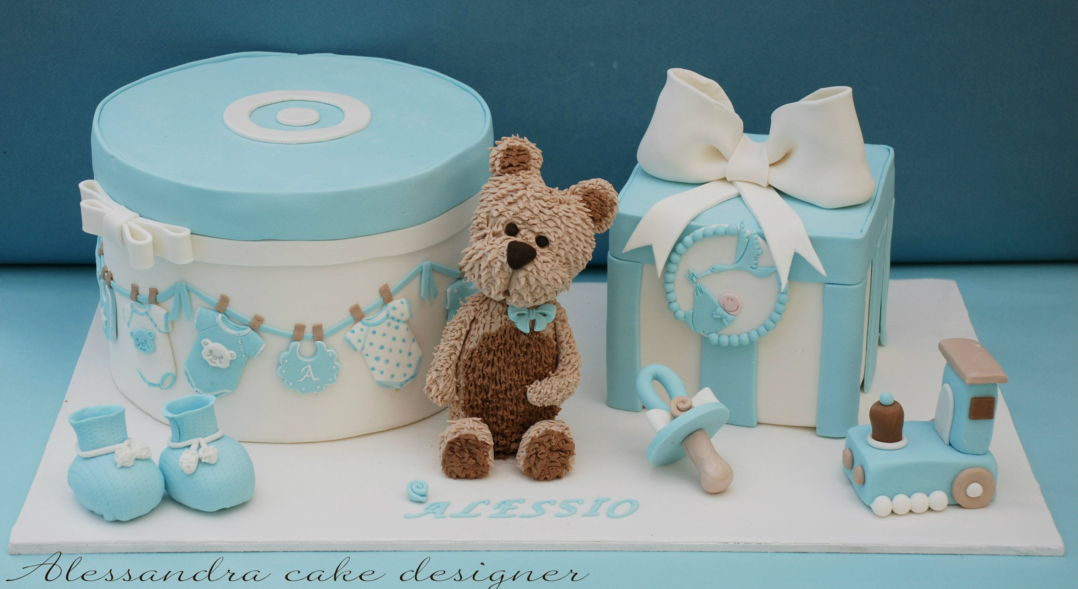 Teddy Bear And Toys Baby Themed Cake For A Boy Diaper