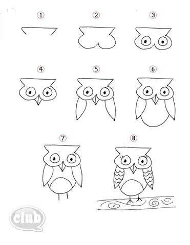 Como Dibujar Un Buho Dibujos De Pajaro Drawing Lessons Arte Garabateado