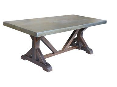 Zinc Top Table With Hand Hammered Nails Solid Mango Wood Base