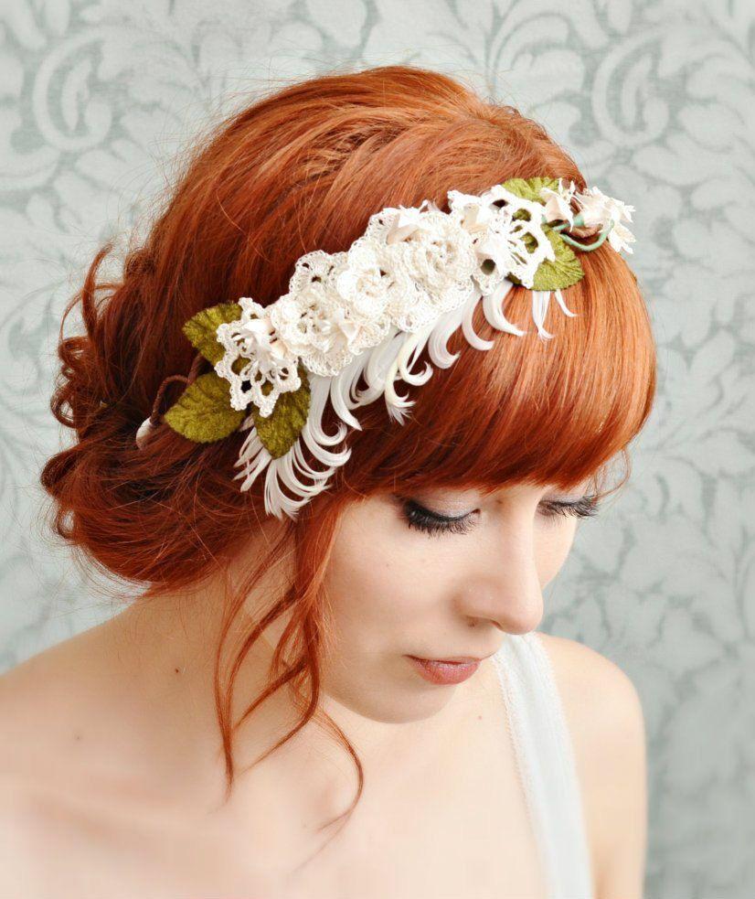 Wedding Headpiece Tiara Bridal Headband Vintage lace in ivory Wedding hair accessoires Floral Hairpiece Flower Hairband