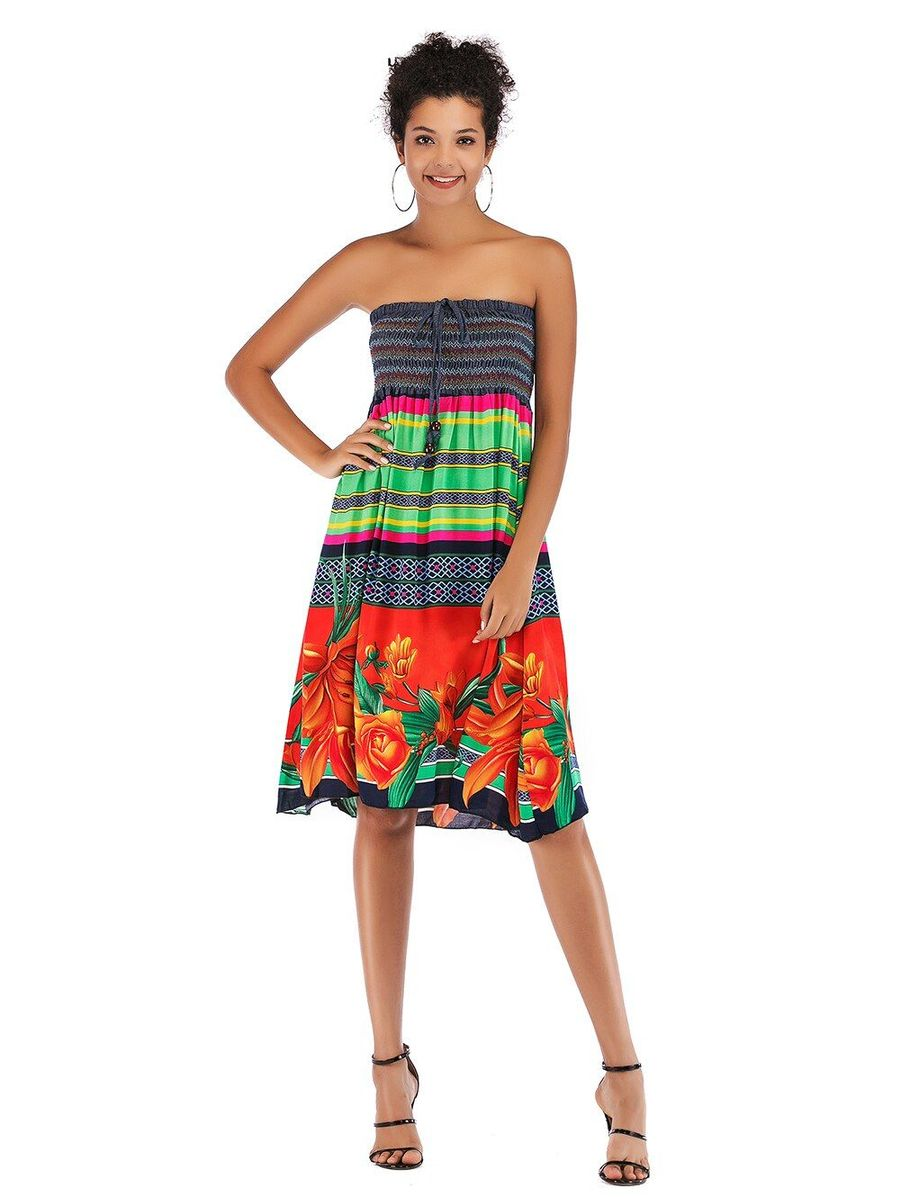 Strapleess Floral Print Bohemian Lace Up Tube Top Boho Beach Dress Summer Dresses For Women Beach Holiday Dresses [ 1197 x 900 Pixel ]