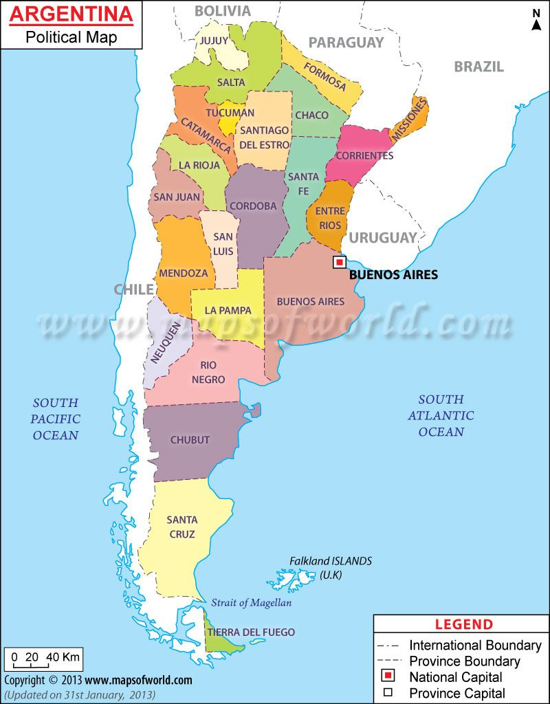 Political Map of Argentina Argentina Pinterest Argentina map