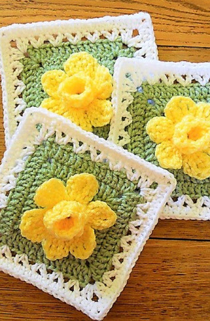 Free Pattern] Extraordinarily Beautiful Daffodils Square | Daffodils ...