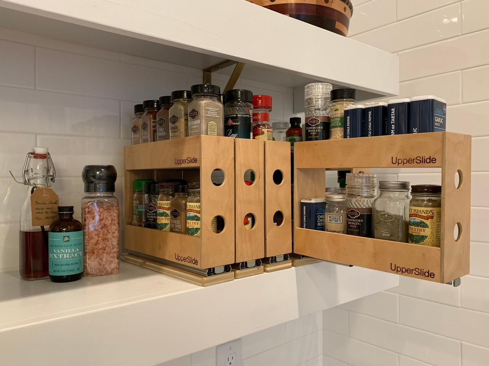 Upperslide Cabinet Caddies Double Pull Out Spice Rack Large Etsy In 2020 Cabinet Spice Rack Spice Rack Pull Out Spice Rack