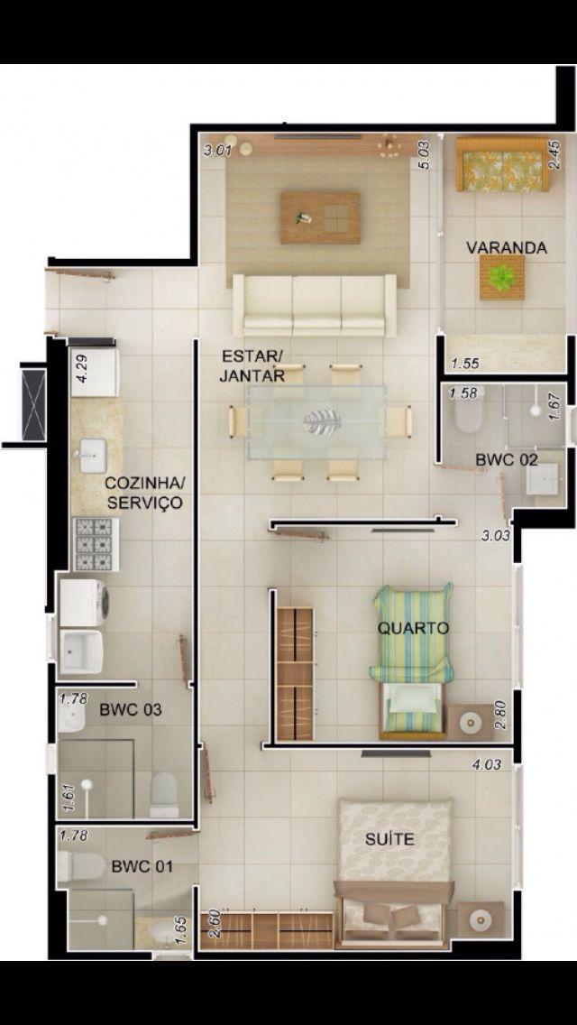 Planta de casa casa Pinterest Plans appartement, Maison 3d et