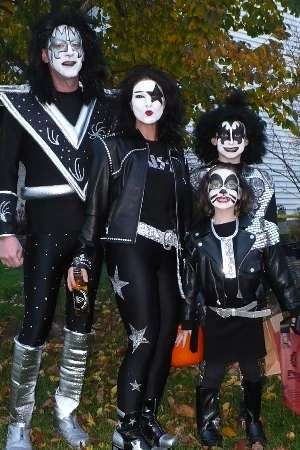we have been waiting 5 years for our daughter to agree to do the kiss band i started thes costumes 5 weeks before - Band Halloween Costumes