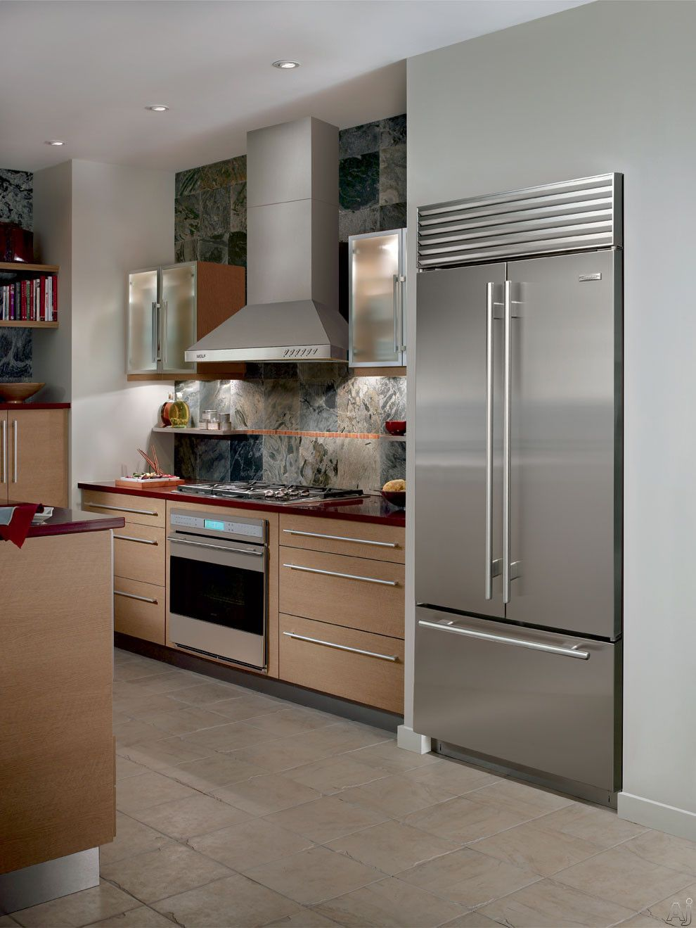 Sub Zero Bi36ufdo 36 Built In French Door Refrigerator With Spill Proof Glass Shelves High Steel Kitchen Appliances French Door Refrigerator Kitchen Chimney