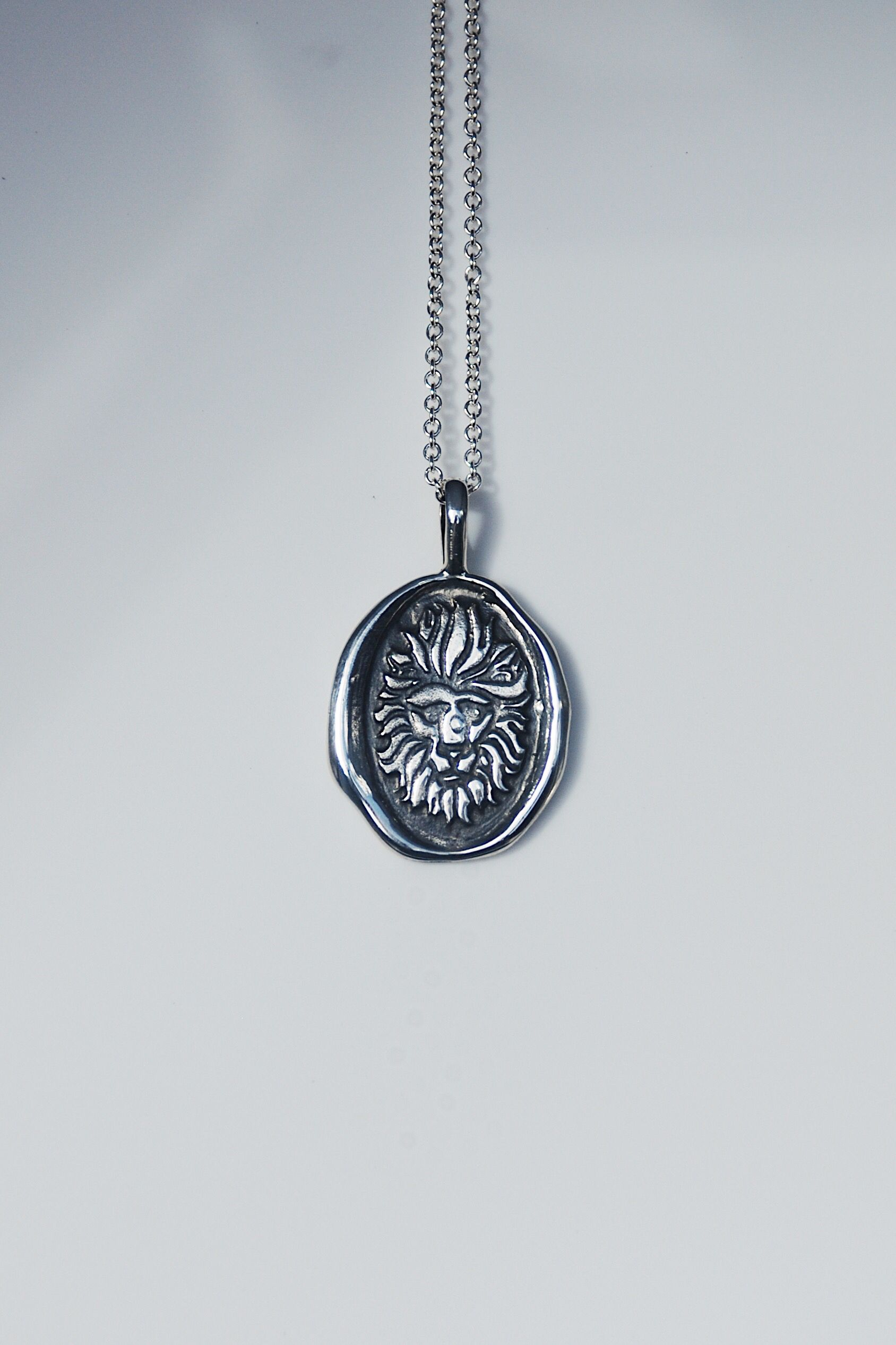 Sterling silver lion necklace Round diamond engagement