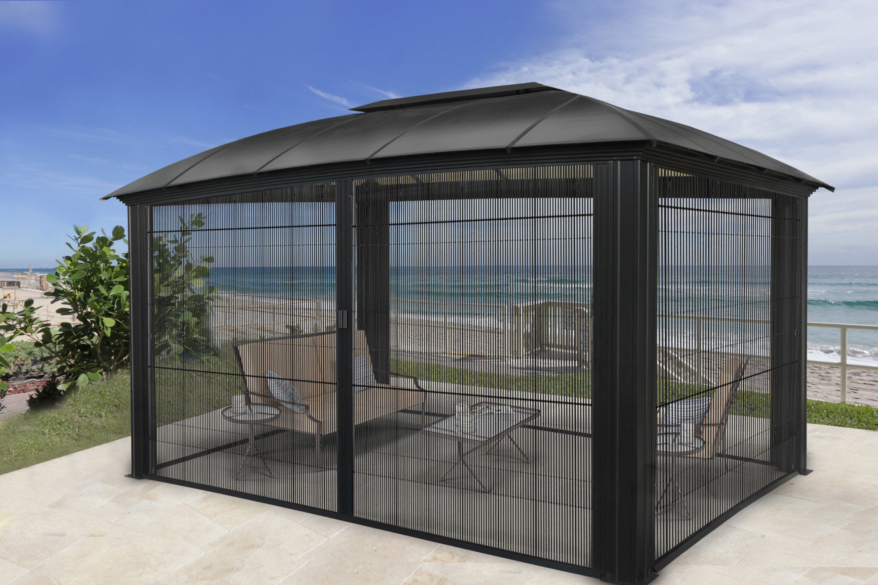 Siena 12x16 Hard Top Gazebo With Sliding Screen Gz3dxls