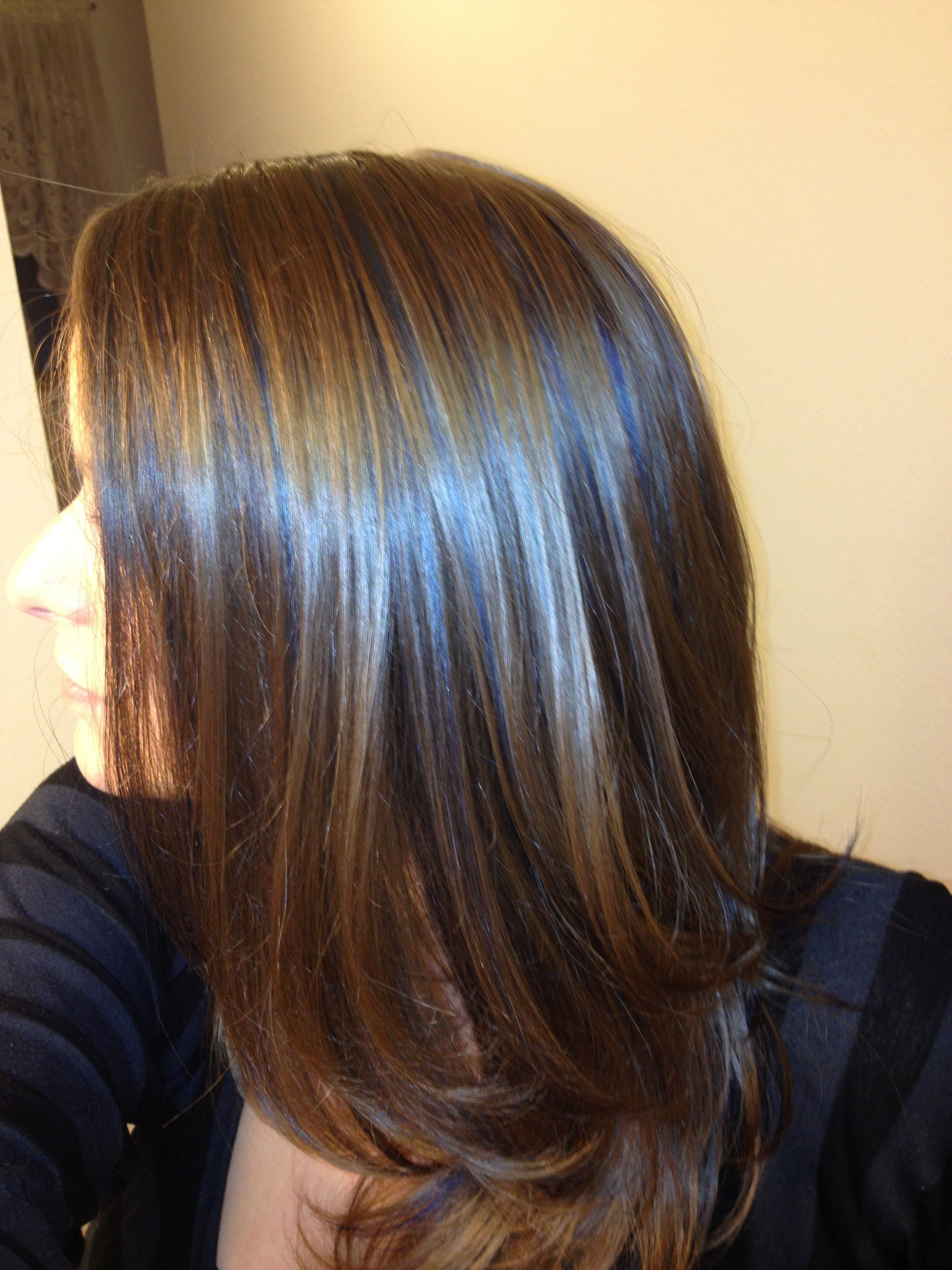 Brown Light hair with blue highlights pictures pictures