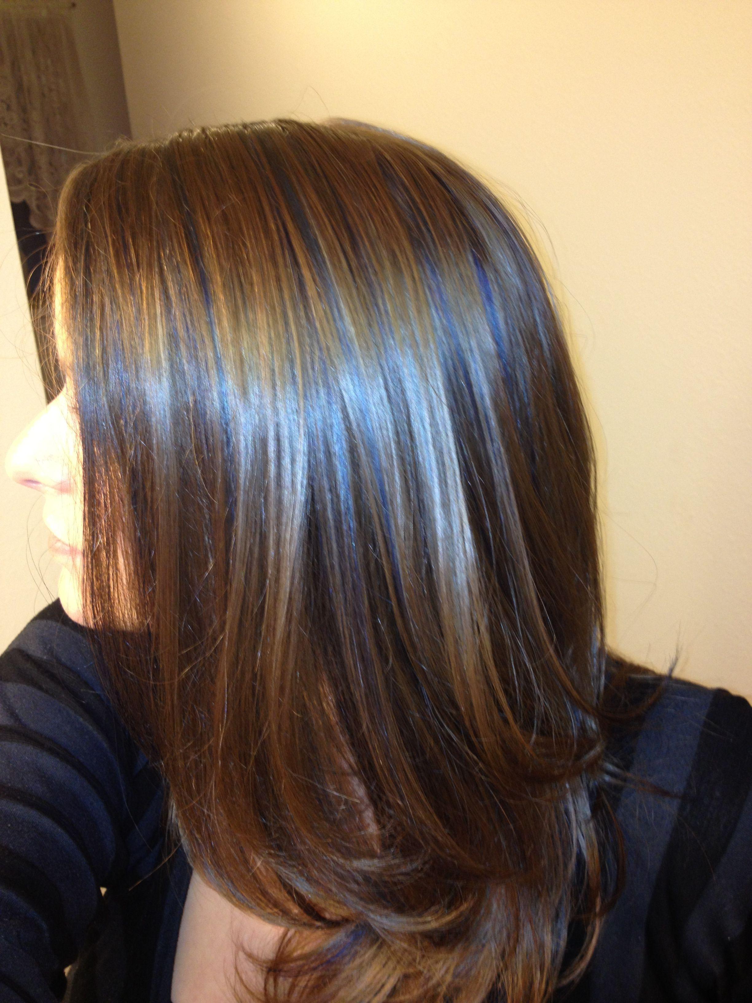 Blue Highlights On Light Brown Hair Blue Hair Color Highlights