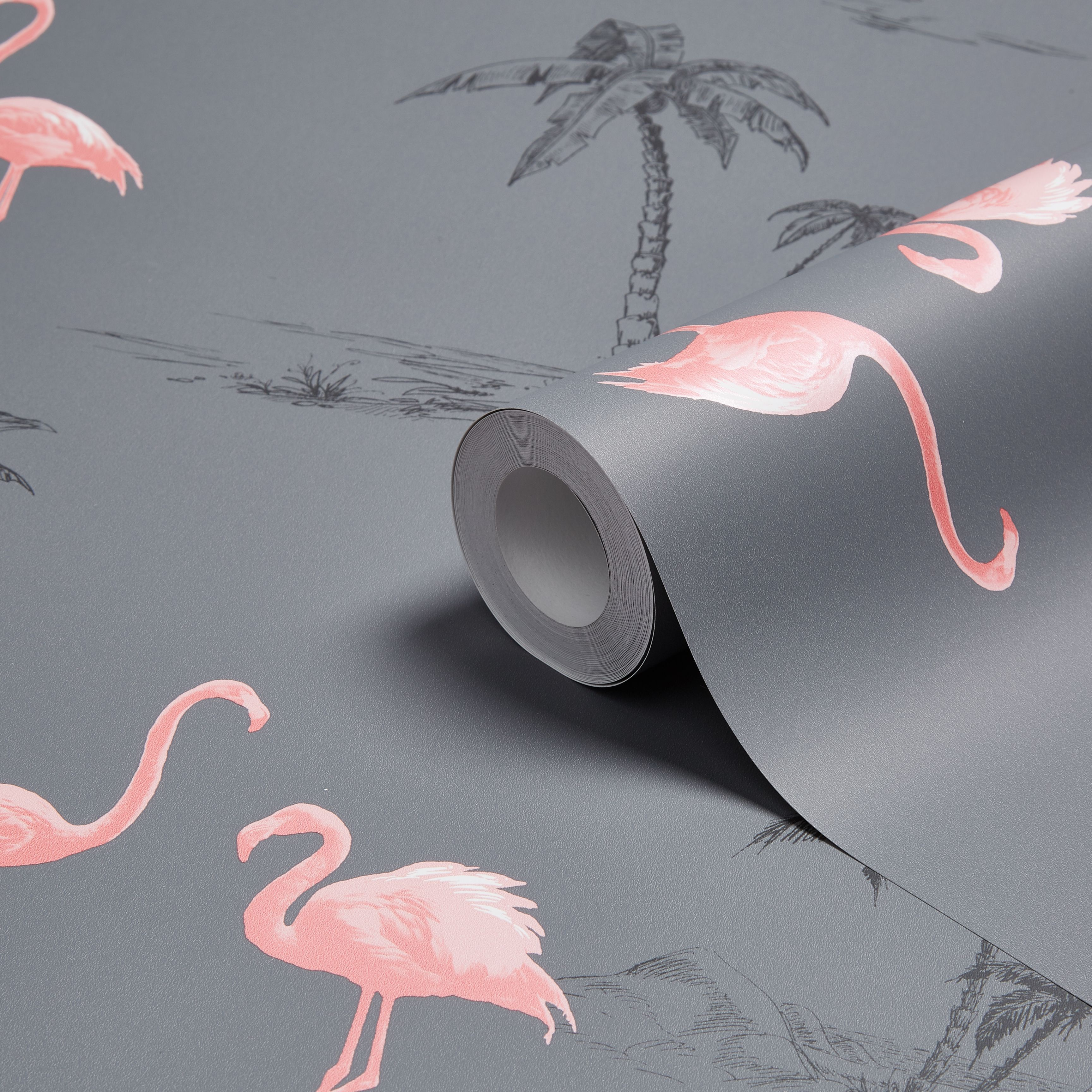 colours charcoal pink flamingo mica wallpaper - Pink Flamingo Bath Decor