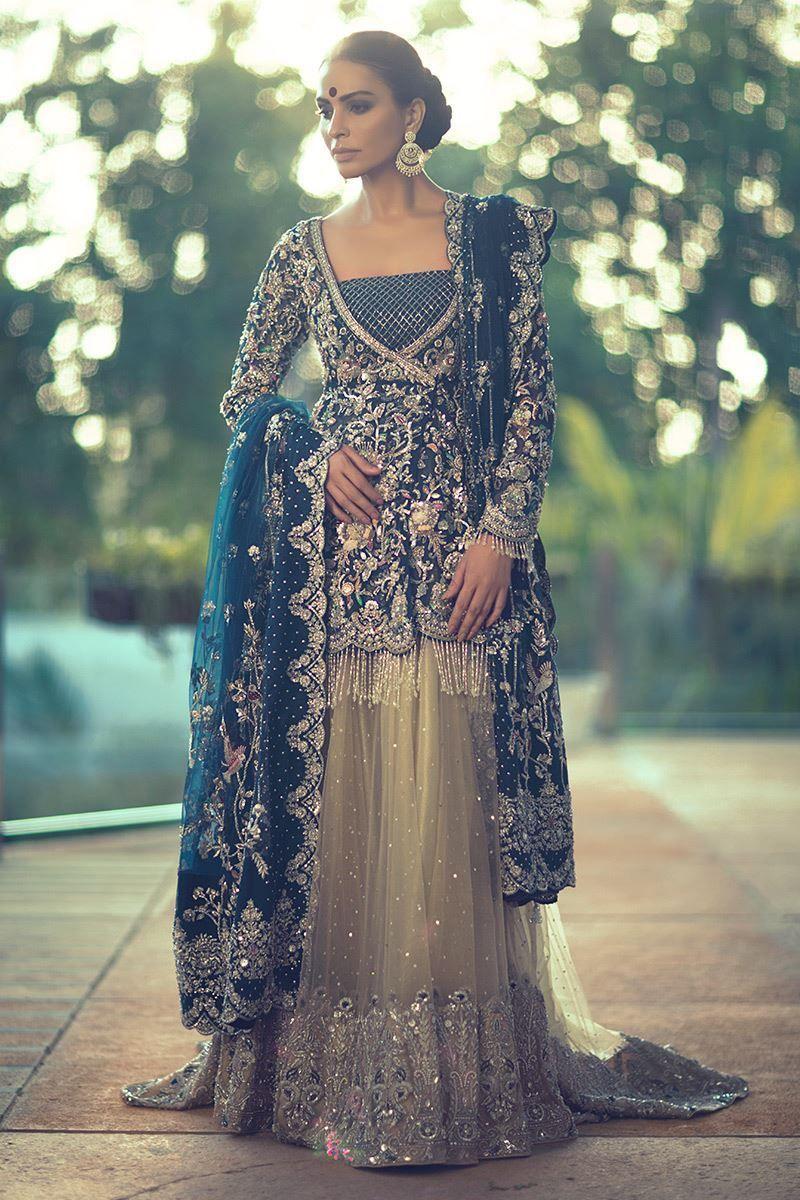 Blue Bridal Dresses Pakistani