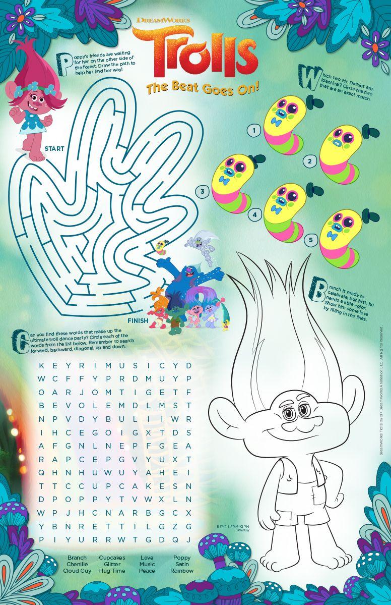 Activity Sheet Trolls The Beat Goes On Disney Coloring Pages Activity Sheets Coloring Pages
