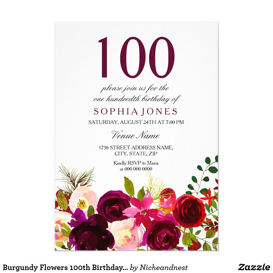 Burgundy flowers 100th birthday party invitation party invitations burgundy flowers 100th birthday party invitation filmwisefo