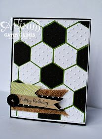 Hexagon dies, dots embossing.  Card for a soccer lover!