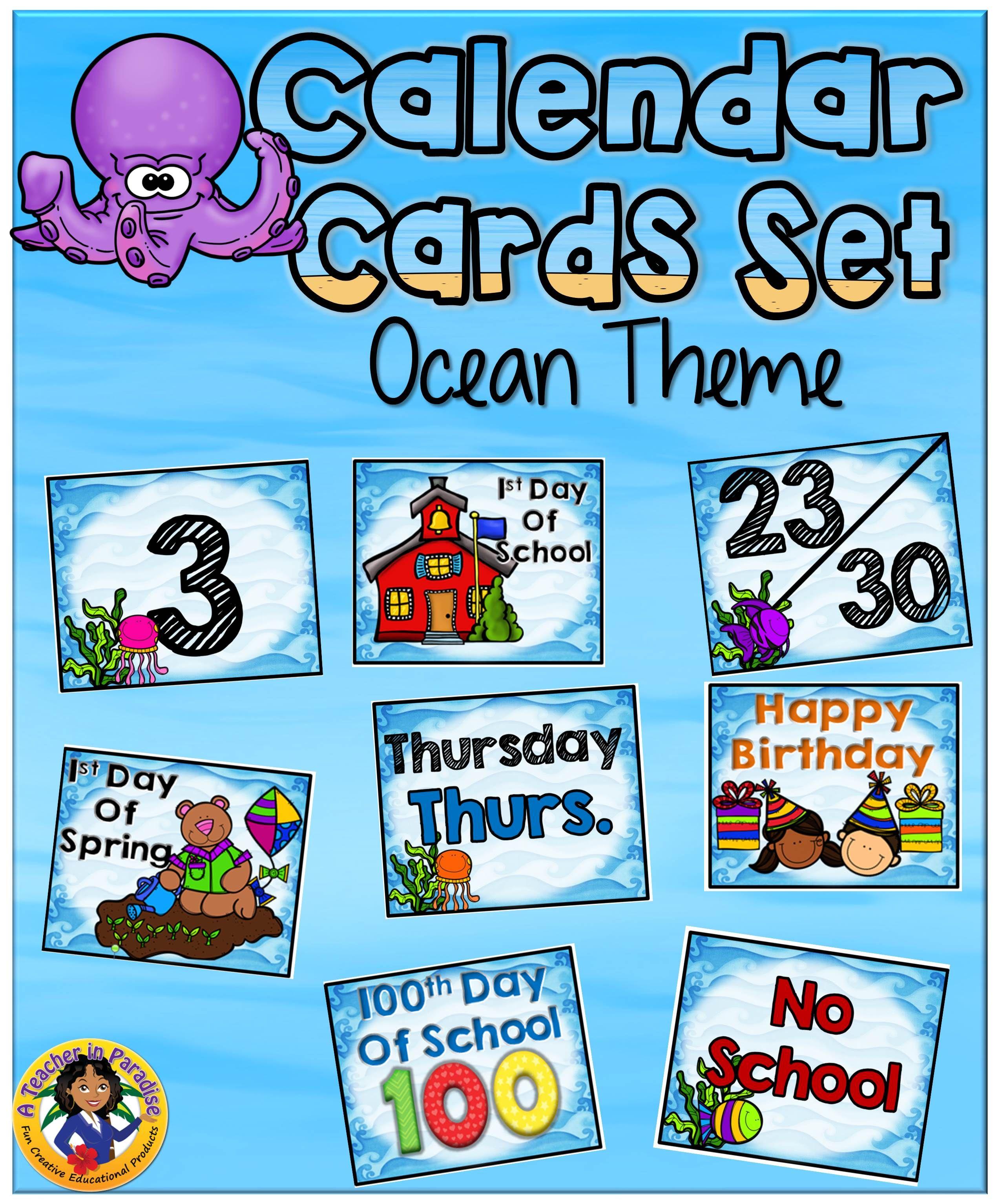 Ocean Theme Calendar Numbers Set